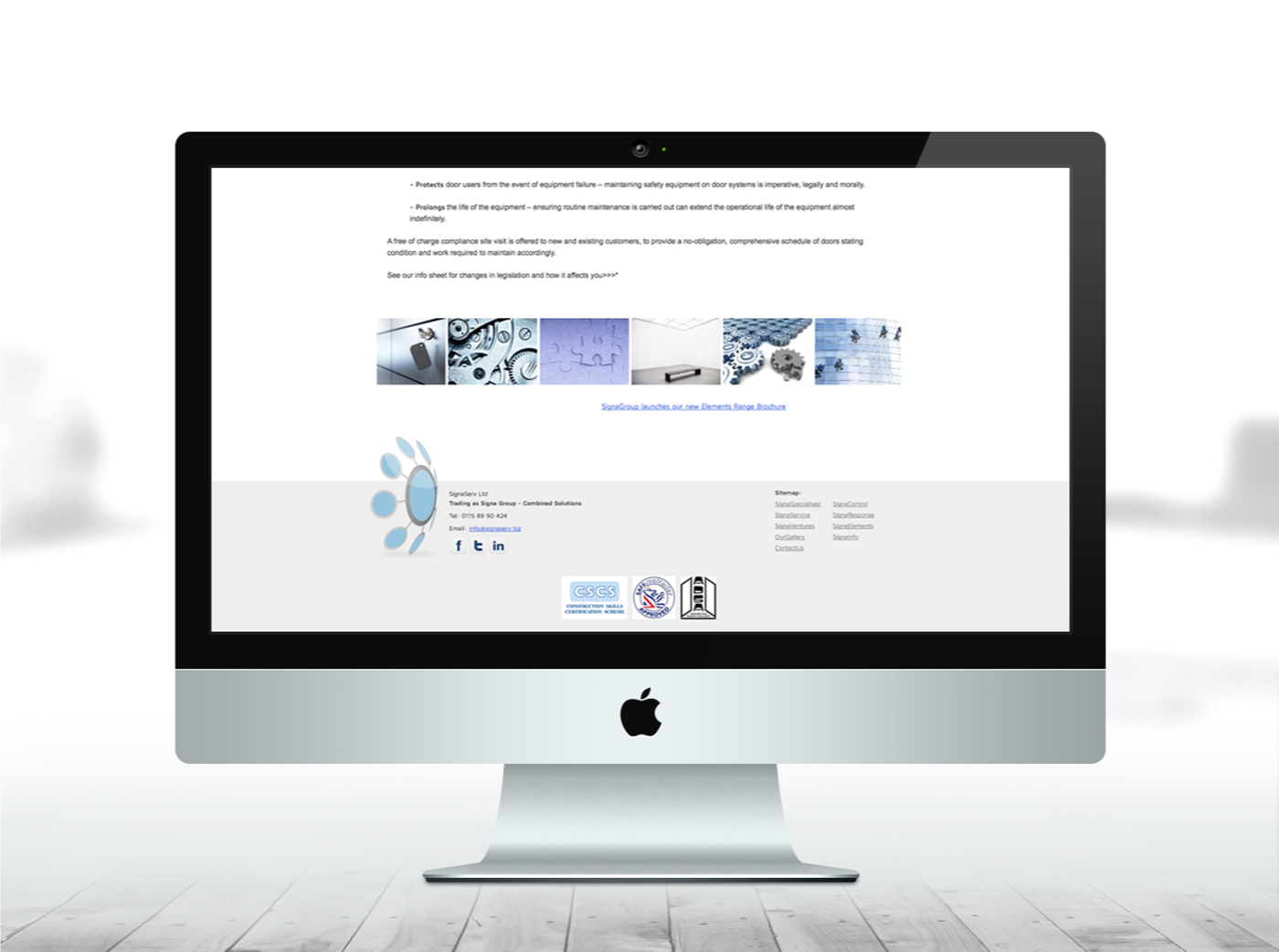 SignaServ website footer